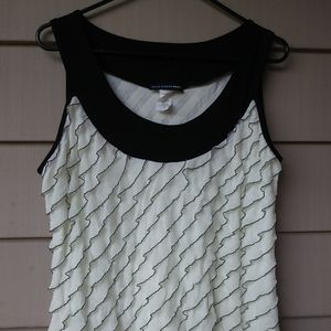 St. Tropez West Cream Black Ruffle Blouse XL